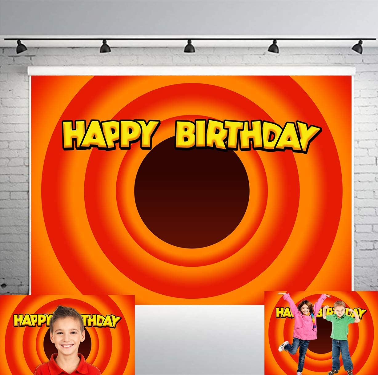 PHMOJEN 7x5ft Carrot Circle Backdrop for Children Theme Birthday Party Banner Photo Studio Background Props LYPH1321