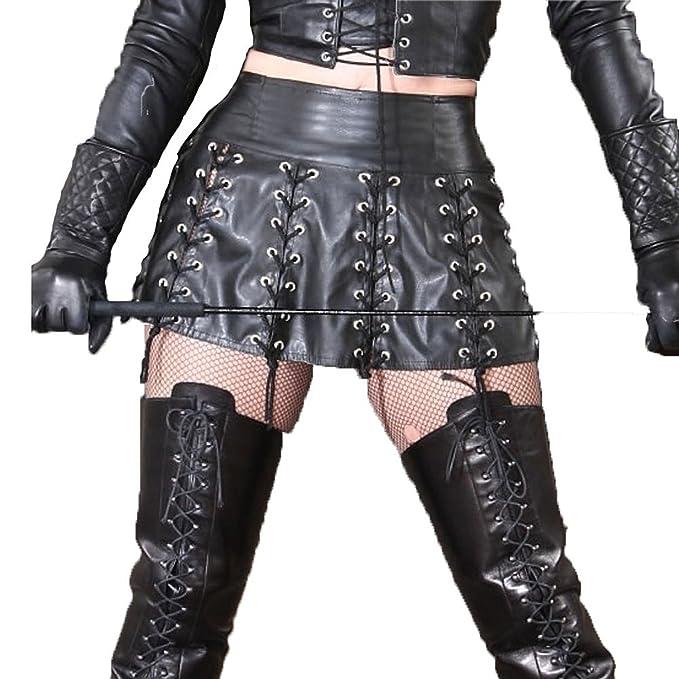 4a24d48344 LAFIZZLE Plus Size Pvc Latex Women s Shiny Liquid Metallic Wet Look Dress  Rivet Bandage Skater Skirt