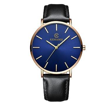 Relojes Hombre Inteligentes 💝💞 Yesmile Pareja Moda Relojes Banda de Cuero de Cuarzo analógico Relojes Reloj de Pulsera Redondo para Hombre de Negocios: ...