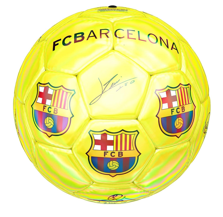 Balón Amarillo fluorescente FC Barcelona, Nº 5: Amazon.es ...