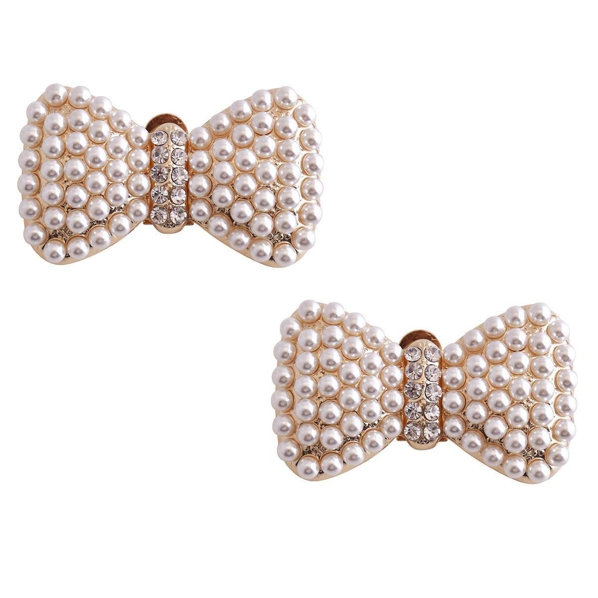 ElegantPark CE 2 Pcs Shoe Clips Pearls Bows Design Wedding Party Decoration Gold