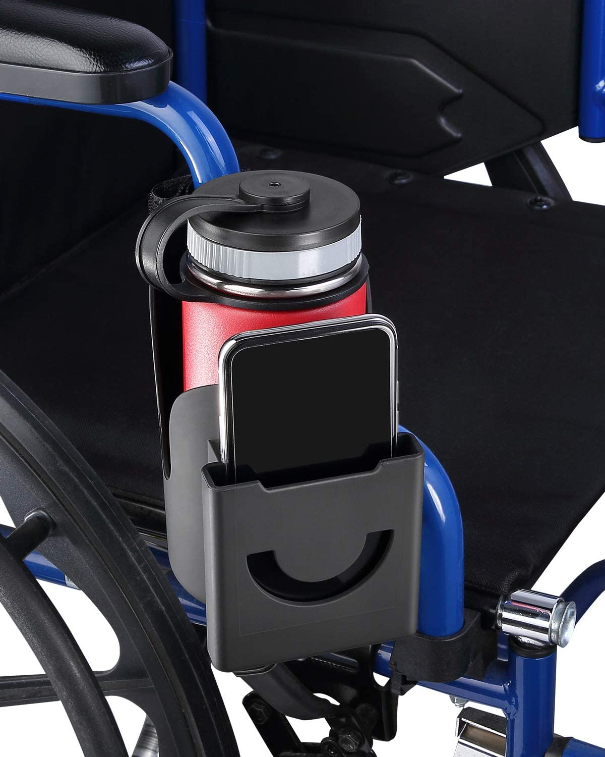 ISSYAUTO Wheelchair Drink Cup Holder, 2 in 1 Large Water Bottle Holder and Phone Bracket with Strap Mount 3MM Thick Cups Holder Universal for Wheelchair, Walker, Rollator, Stroller