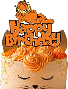 Acrylic Garfield Happy Birthday Cake Toppers, Lazy Cat Cake Decor, Garfield Theme Birthday Party Baby Shower Decoration Supplies, Kids Bday Party Favor