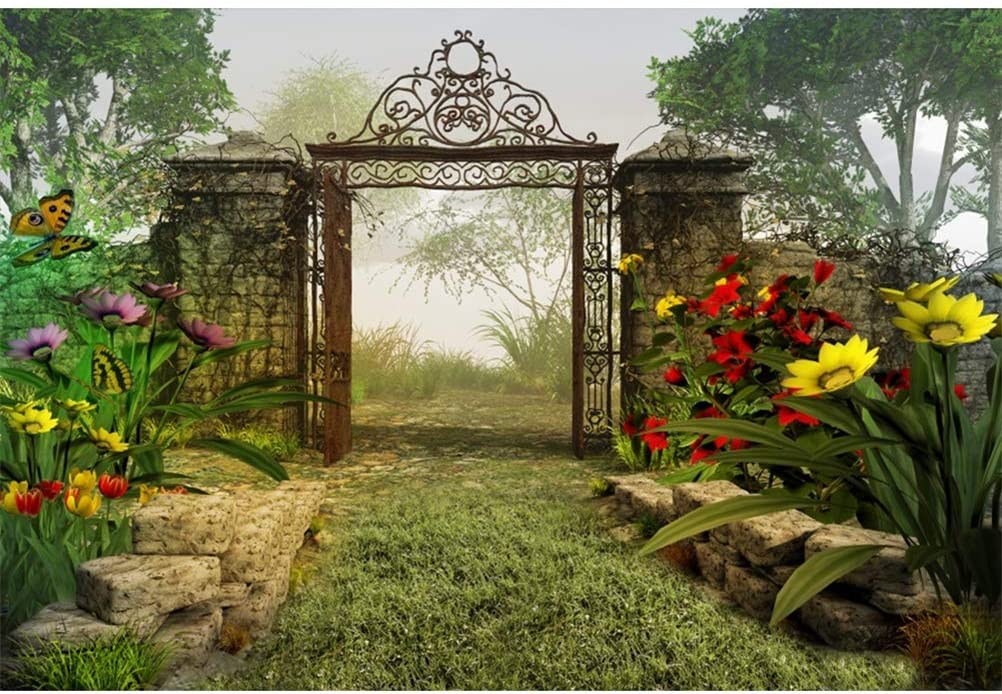 Laeacco 7x5ft Fairy Tale Riverside Tranquil Secret Garden Scenic Vinyl Photography Background Blooming Flowers Flying Butterflies Opened Gate Faint Fog Backdrop Child Adult Shoot Studio Props