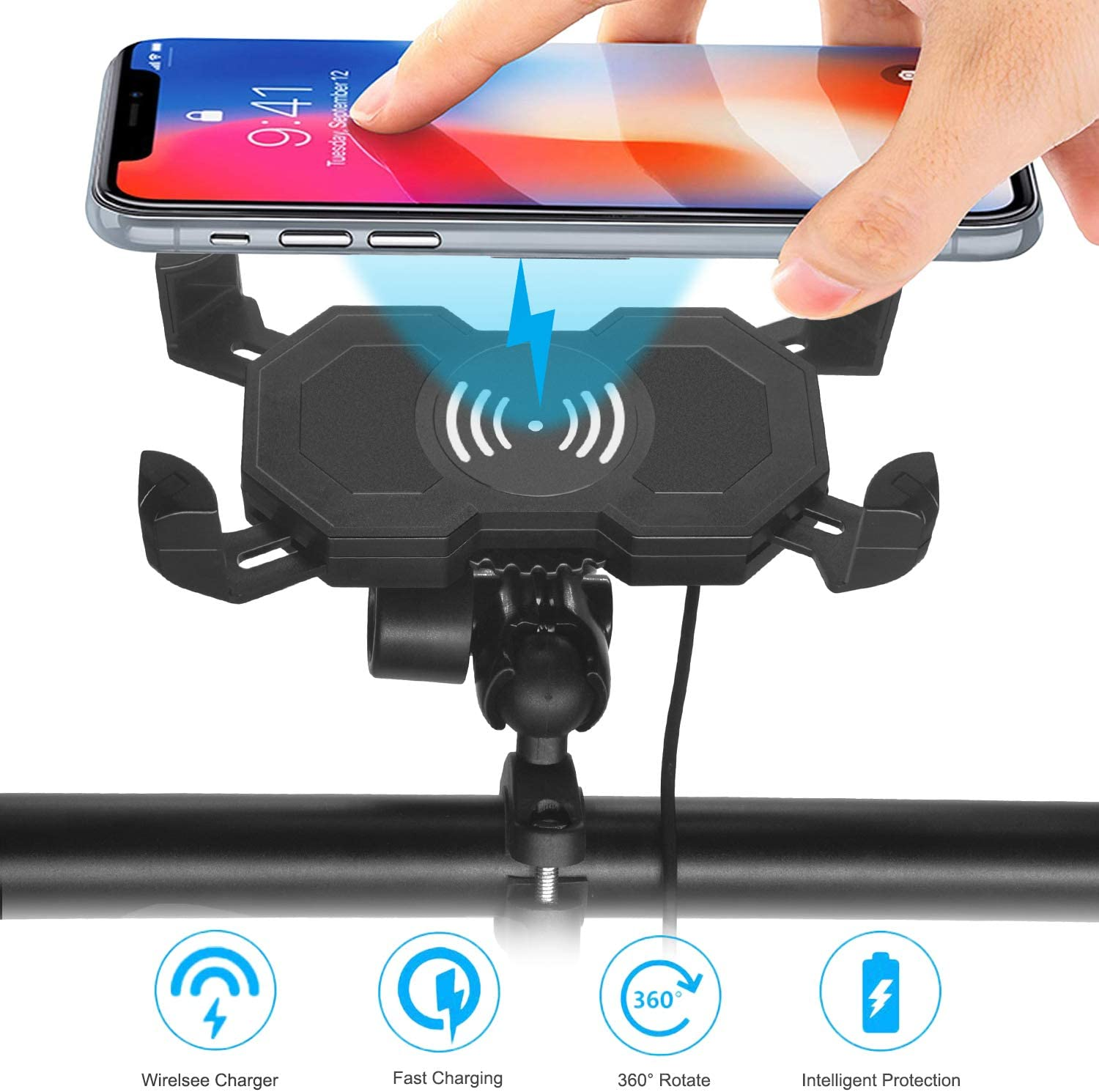 Cell Phone Holder//Motorcycle Accessories Fix on Handlebars//Mirror for All 3.5 to 6 Phones Anti Shake with 360/° Adjustable leepiya Motorcycle Phone Mount with USB Charger Port Not Cover Camera
