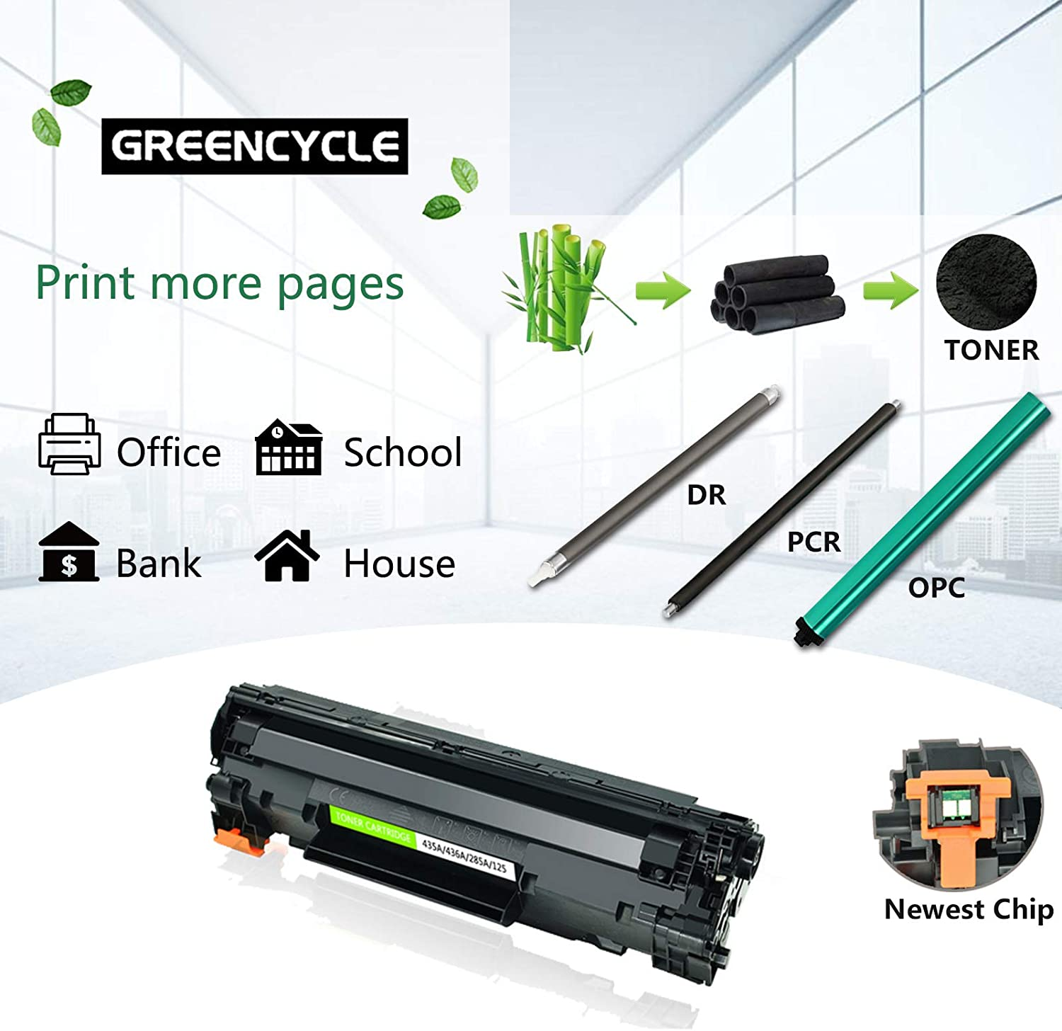 GREENCYCLE 3 Pack Black Cartridge Compatible for HP 85A CE285A CE285 Toner Cartridge for Laserjet Pro P1102W P1102 P1100 M1212NFW M1212NF M1210 M1132 M1130 Laser Printer
