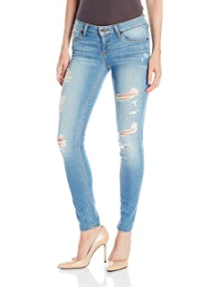 6d1786d3a1bf27 Guess Women's Power Skinny Low-Rise Jean In Voila with Destroyed Wash