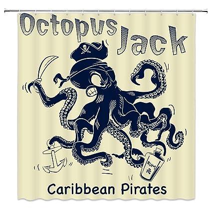 Amazon Feierman Octopus Jack Shower Curtain Caribbean Pirates