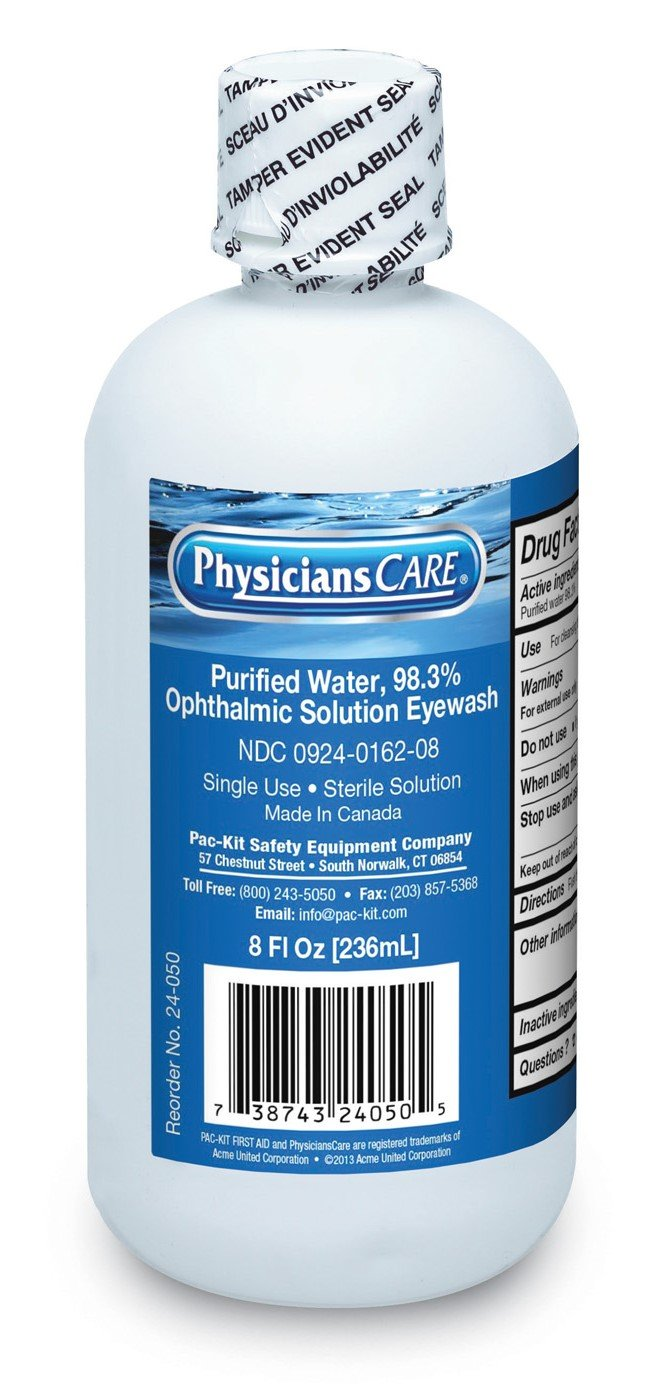 Pac-Kit by First Aid Only 24-050 Eye Wash Solution, 8 oz Bottles (Case of 12)