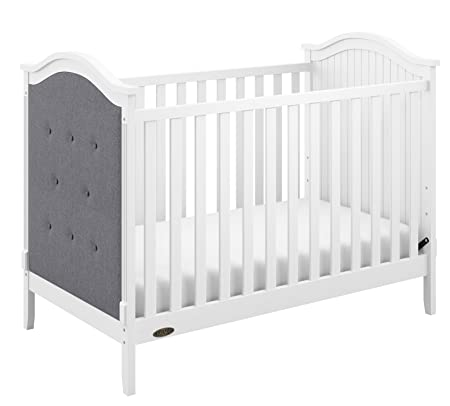 Graco Linden Upholstered 3-in-1 Convertible Crib, White Gray Easily Converts to Toddler Bed Day Bed, 3-Position Adjustable Height Mattress