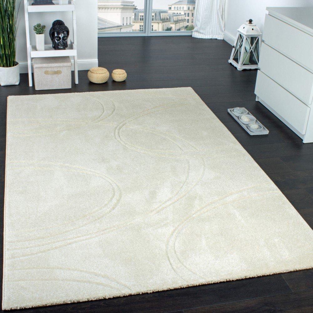 Paco Home Teppich Einfarbig Designerteppich mit Handgearbeiteten Konturen Creme Elfenbein, Grösse 230x320 cm