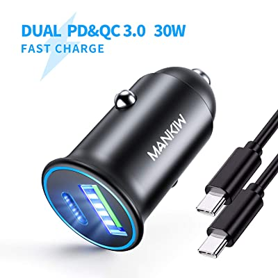 MANKIW USB C Car Charger PD&QC 3.0 Dual Port Car Adapter 30W Fast Car Charger Fit Compatible with iPhone 11/11 Pro/11 Pro Max/XS/XR/X/8, Samsung Note 10/S10/s9/s8/s7, Google Pixel 3/2/XL(Black): Electronics
