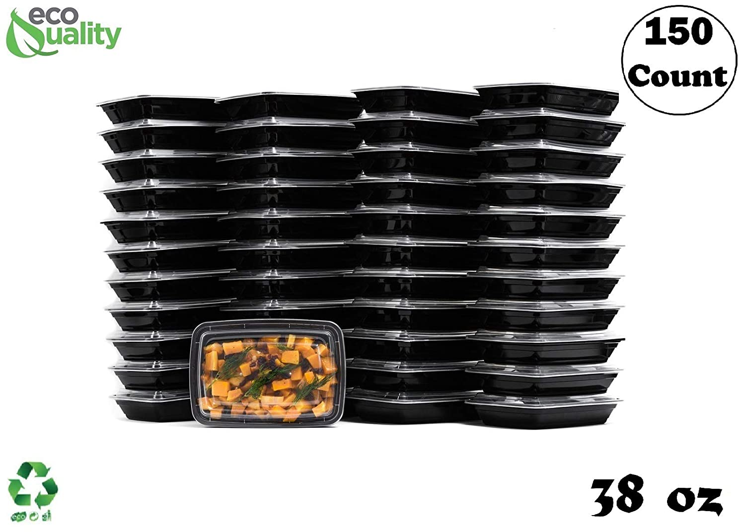 38 oz Reusable Food Storage 150 Pack Containers with Lids by EcoQuality – Rectangular BPA Free Freezer, Microwave & Dishwasher Safe – Airtight & Watertight Stackable, Lunch Meal Prep, To-Go, Bento Box