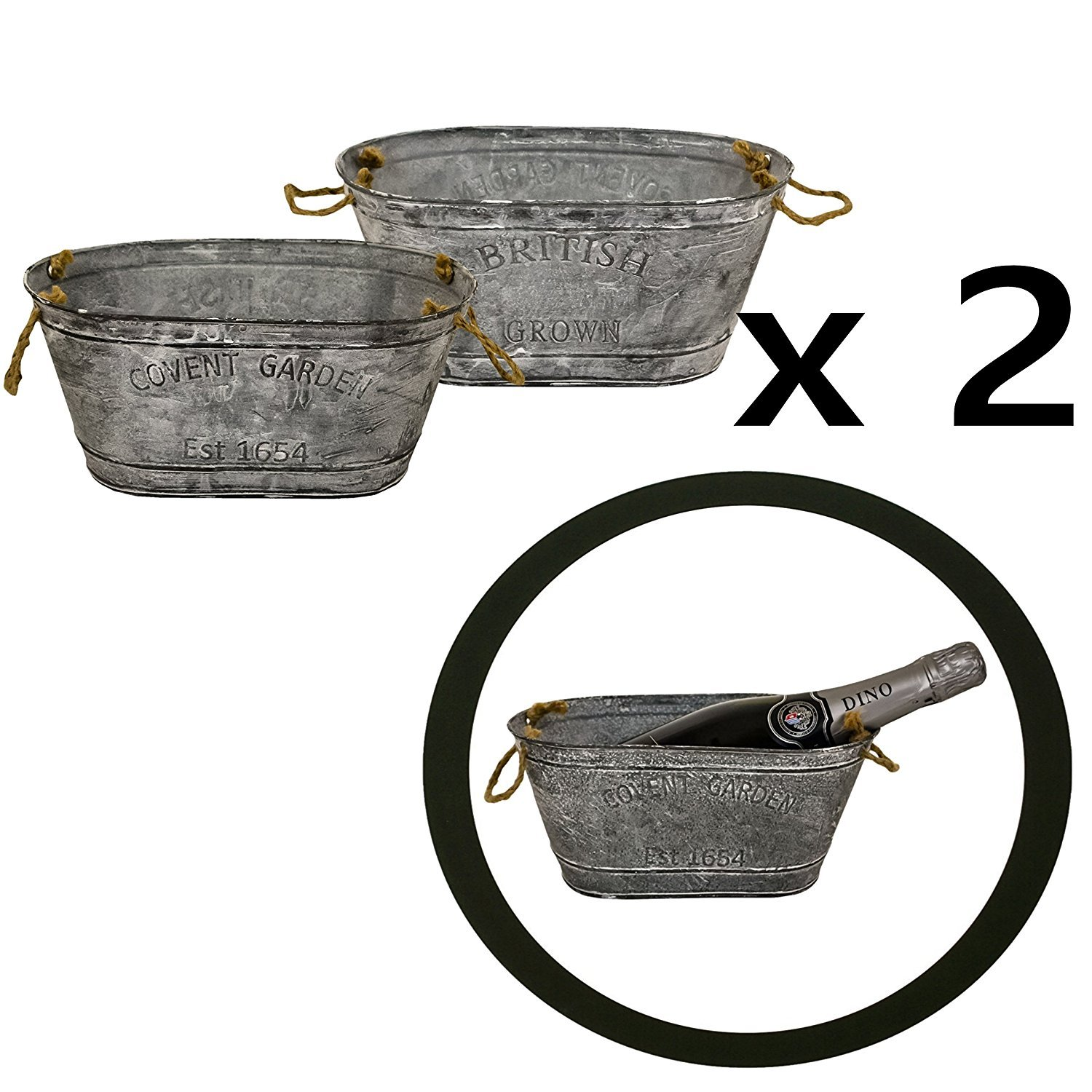 east2eden Set of 2 British Grown Covent Garden Galvanised Zinc Embossed Double Sided Small Oval Metal Tin Plant Flower Planter Pot Box