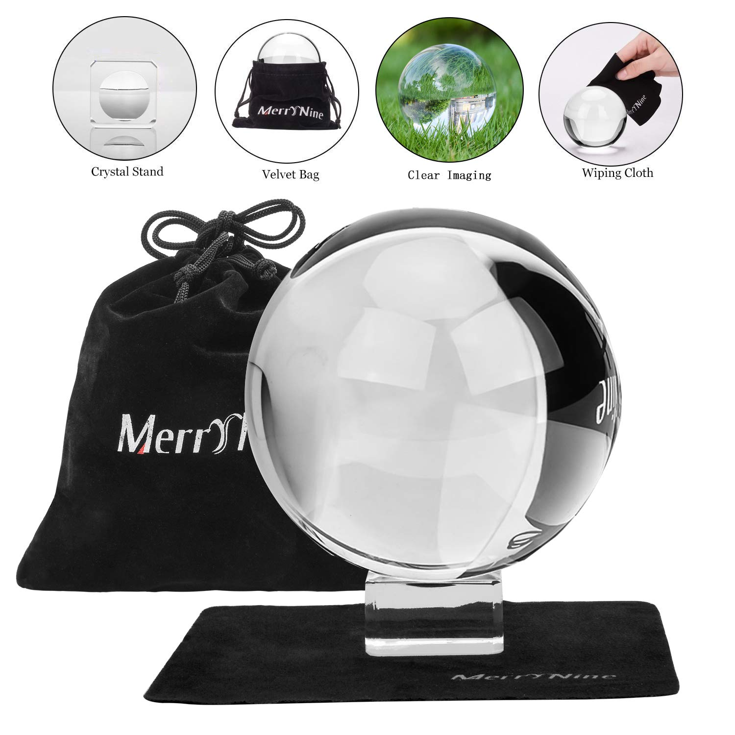 Photograph Crystal Ball with Stand and Pouch, K9 Crystal Suncatchers Ball with Microfiber Pouch, Decorative and Photography Accessory (110mm/4.33'' Set, K9 Clear) by MerryNine