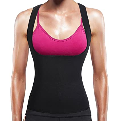 1a8ca66fa7fc8 BURUNST Waist Trainer Vest for Women - Neoprene Sauna Sweat Body Shaper for Weight  Loss - Slimming Waist Tummy Control Corset Tank Top Shirt for Sport ...
