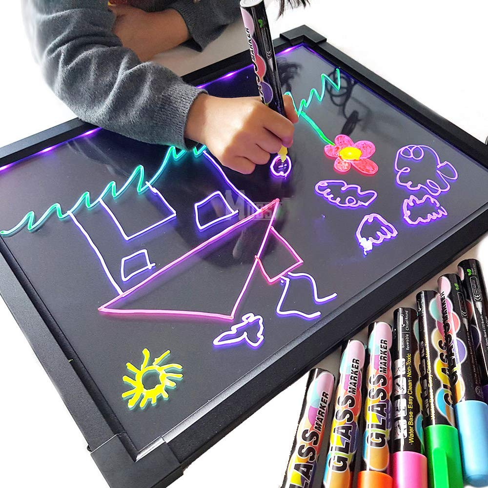 Sensory LED Message Writing Board Illuminated Light Dry Erase Board Kids Drawing Painting Board Doodle Graphics Tablets Educational Toys with 8 Chalk Marker & Remote Control (6040cm) TangJie