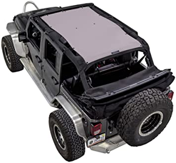 ALIEN SUNSHADE Jeep Wrangler 2-Piece Mesh Shade Top Cover with 10 Year Warranty Provides UV Protection for Front And Rear Passengers 4-Door JKU 2007-2018 Black