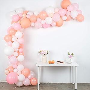 Balloon Garland Kit - Pink, White, Blush Balloons for Parties - Large, Small Baby Pastel Matte Balloons Bulk - Balloon Tape, Balloon Garland Strip - Light Pink Balloon Arch Kit 16'
