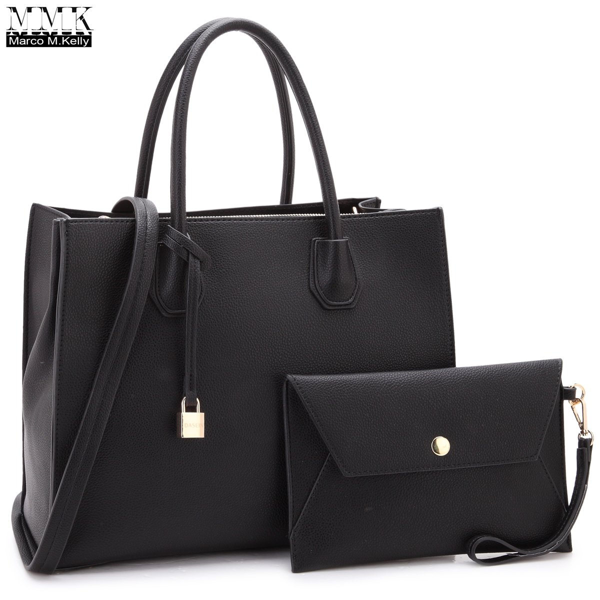 Women Fashion Handbag Matching wallet~Classic Women Satchel Tote Bag Shoulder Bags~Signature Women Designer Purse~Perfect Women Satchel handbag with Spring colors (FN-23-7661-BLACK) by 1988 Marco M.Kelly