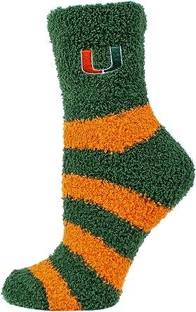 One Size Green Donegal Bay NCAA Miami Hurricanes Argyle Fuzzy Socks