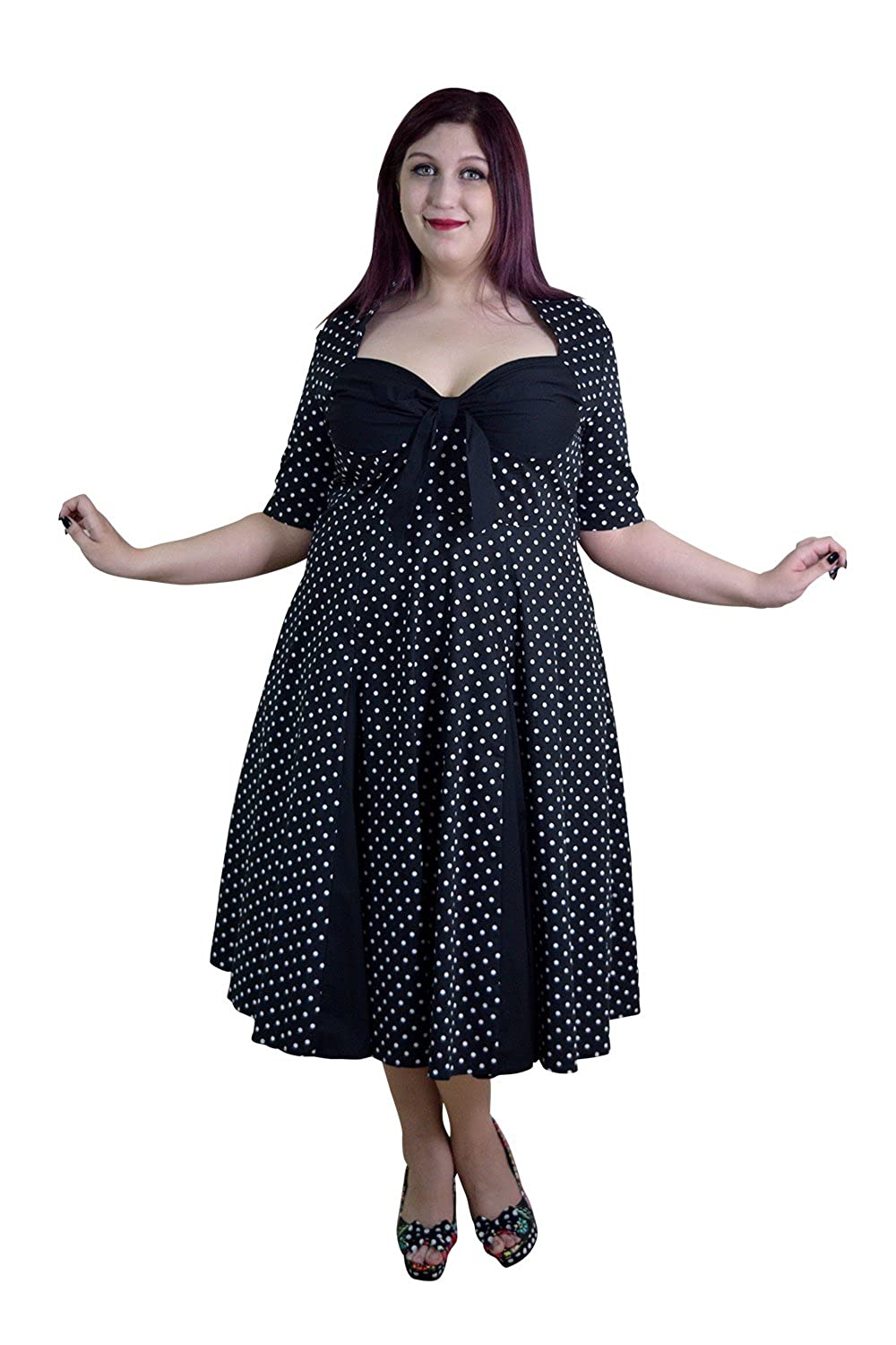 Amazon.com: Skelapparel Plus Size 50\'s Retro Design Polka Dot ...