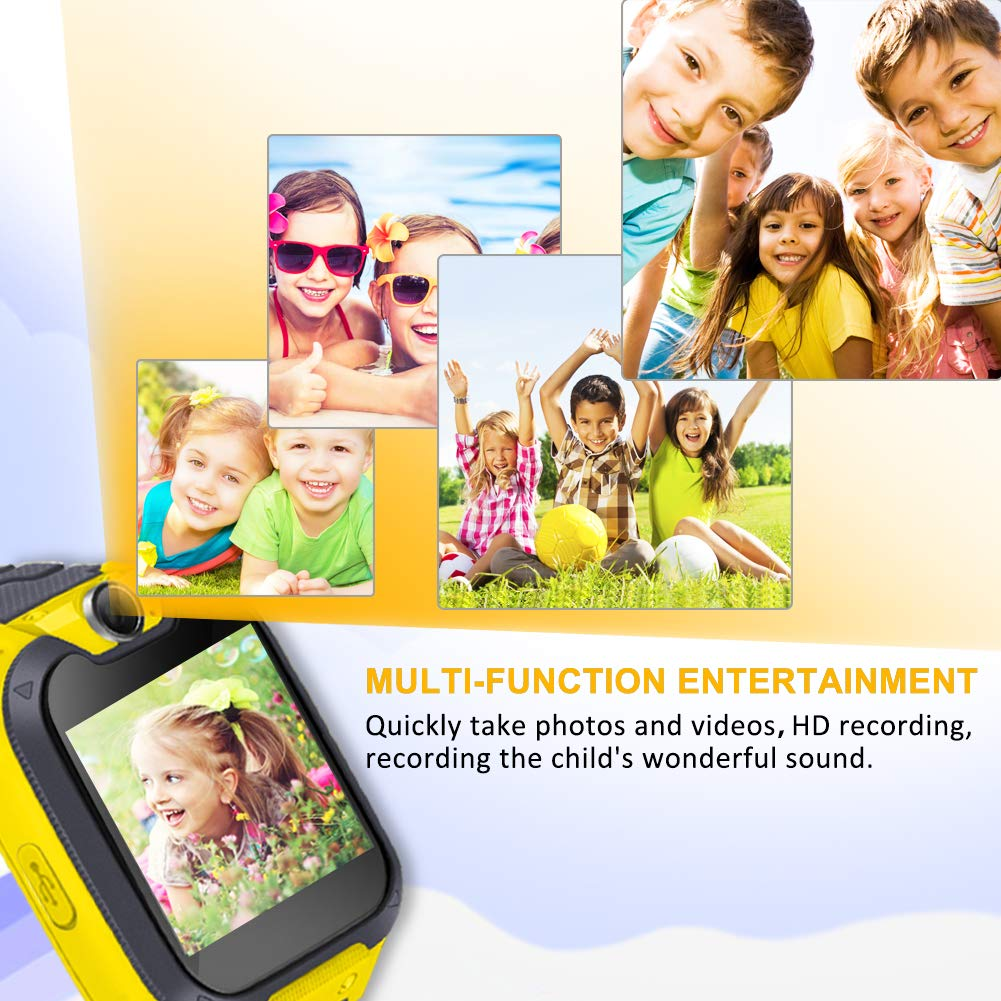 Smart Phone Watches For Kids Game Watch With Camera Touch Screen Digital Wrist Phone Watch Music Player For 3-12 Year Old Boys Girls Ipx5 Waterproof Electronic Educational Learning Toys (Yellow) by LJRYCQSSZSF (Image #4)