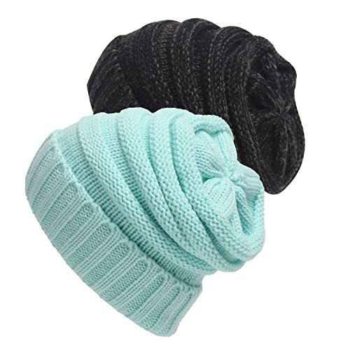 2 Pack of Trendy Warm Chunky Soft Stretch Cable Knit Slouchy Beanie Skully Hat Cap