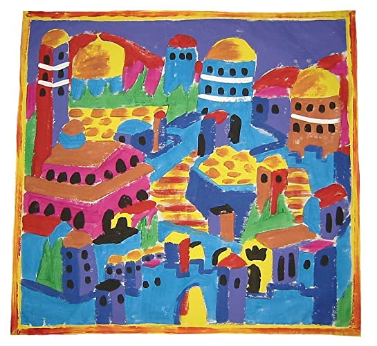 "Judaic Challah Cover Shabbat Hand Painted and Handmade""The Old City"" Design - LRW DESIGNS"