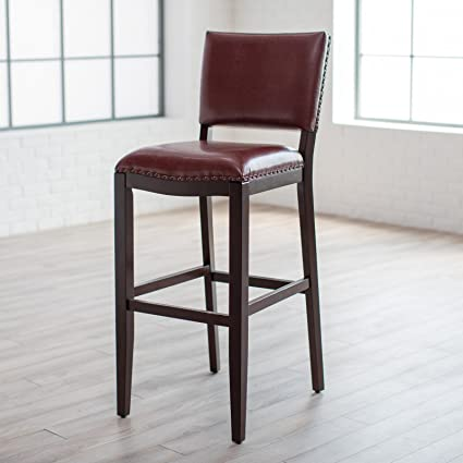 Super Amazon Com Red Leather Bar Stool With Back Extra Tall 34 Machost Co Dining Chair Design Ideas Machostcouk