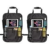 Case4Life Car Seat Organiser Multi-Pocket Travel Storage Tablet/iPad Holder with Kick Mats Seat Protector (2 Pack) - Lifetime Warranty