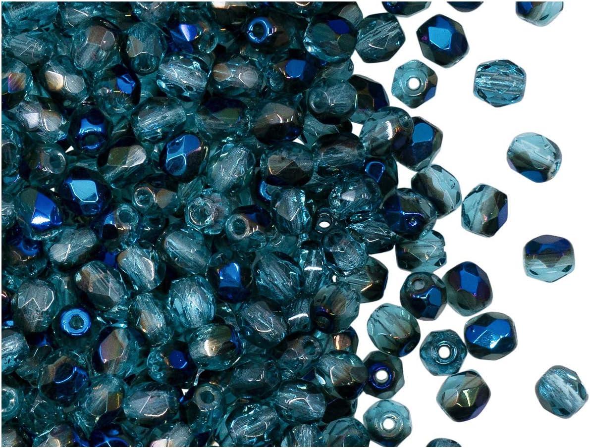 100 Piezas, 4 mm, Cuentas de Vidrio facetado Redondas checo, Fire-Polished, Transparent Blue-Vega Mix