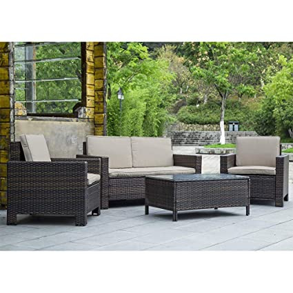 Tremendous Patio Furniture Set 4Pcs Outdoor Pe Rattan Wicker Sofa Garden Conversation Set Cushioned With Coffee Table Bistro Sets For Yard Pool Or Backyard Home Interior And Landscaping Ponolsignezvosmurscom