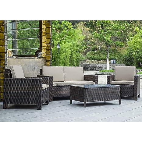 Amazon.com: BestMassage Juego de muebles de patio al aire ...