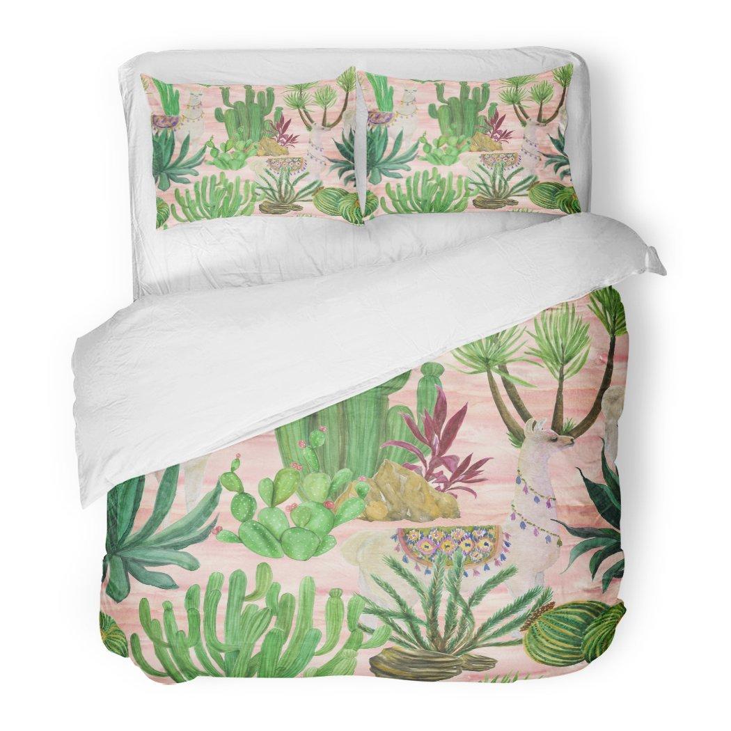 SanChic Duvet Cover Set Alpaca Watercolor Painting Llamas Cacti America Animal Baby Decorative Bedding Set 2 Pillow Shams King Size