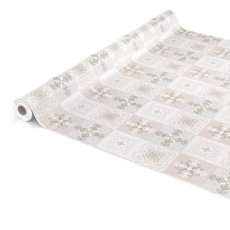 ANRO Wachstuchtischdecke Wachstuch Wachstischdecke Tischdecke abwaschbar Antik Fliesen Barock Vintage Rund 100cm eingefasst