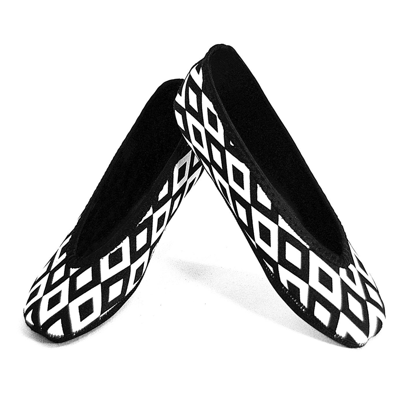 Nufoot Ballet Flats Women's Shoes, Best Foldable & Flexible Flats, Slipper Socks, Travel Slippers & Exercise Shoes, Dance Shoes, Yoga Socks, House Shoes, Indoor Slippers, Black and White Retro, Large