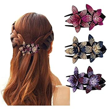 party hair accessory pin up your hair barrette hair clip by Embellished Life Designs thick hair clip Flower sequin glittery hair barrette for women