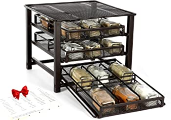 6D 18 Bottles 3-Tier Desk Standing Spice Rack Organizer