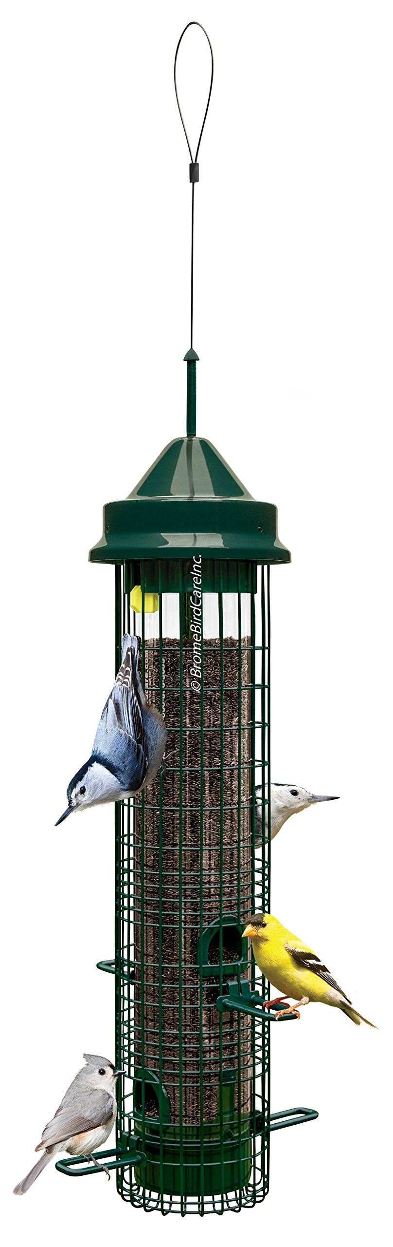 "Brome 1015 Squirrel Buster Classic 5.3""x5.3""x20.625"" Wild Bird Feeder with 4 Feeding Ports, 1.4qt Seed Capacity product image"