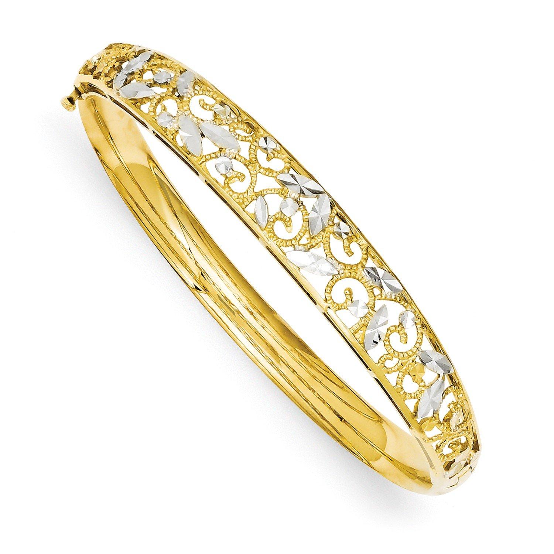Roy Rose Jewelry 14K Yellow Gold and Rhodium Diamond-cut Bangle Bracelet ~ Length '' inches