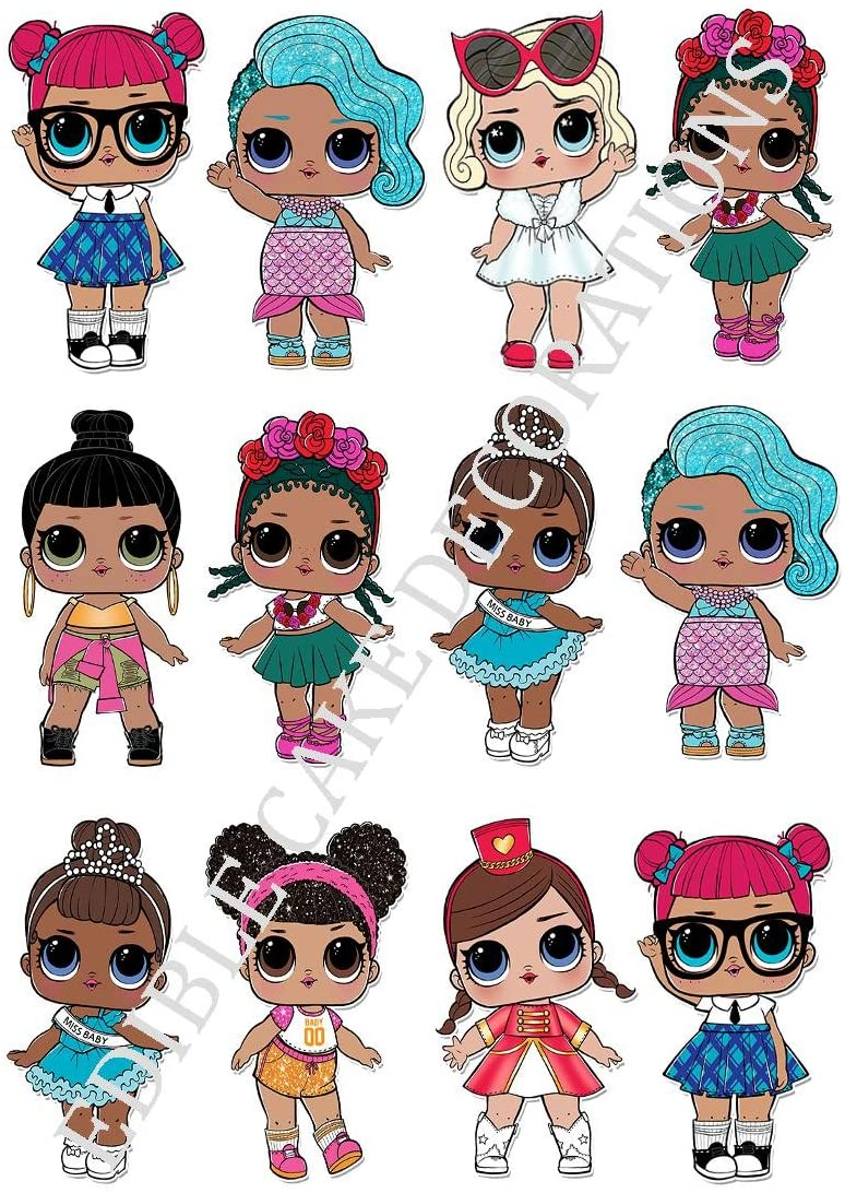 """7.5/"""" Cake Topper Rice Paper LOL DOLLS AND PETS CUPCAKES"""