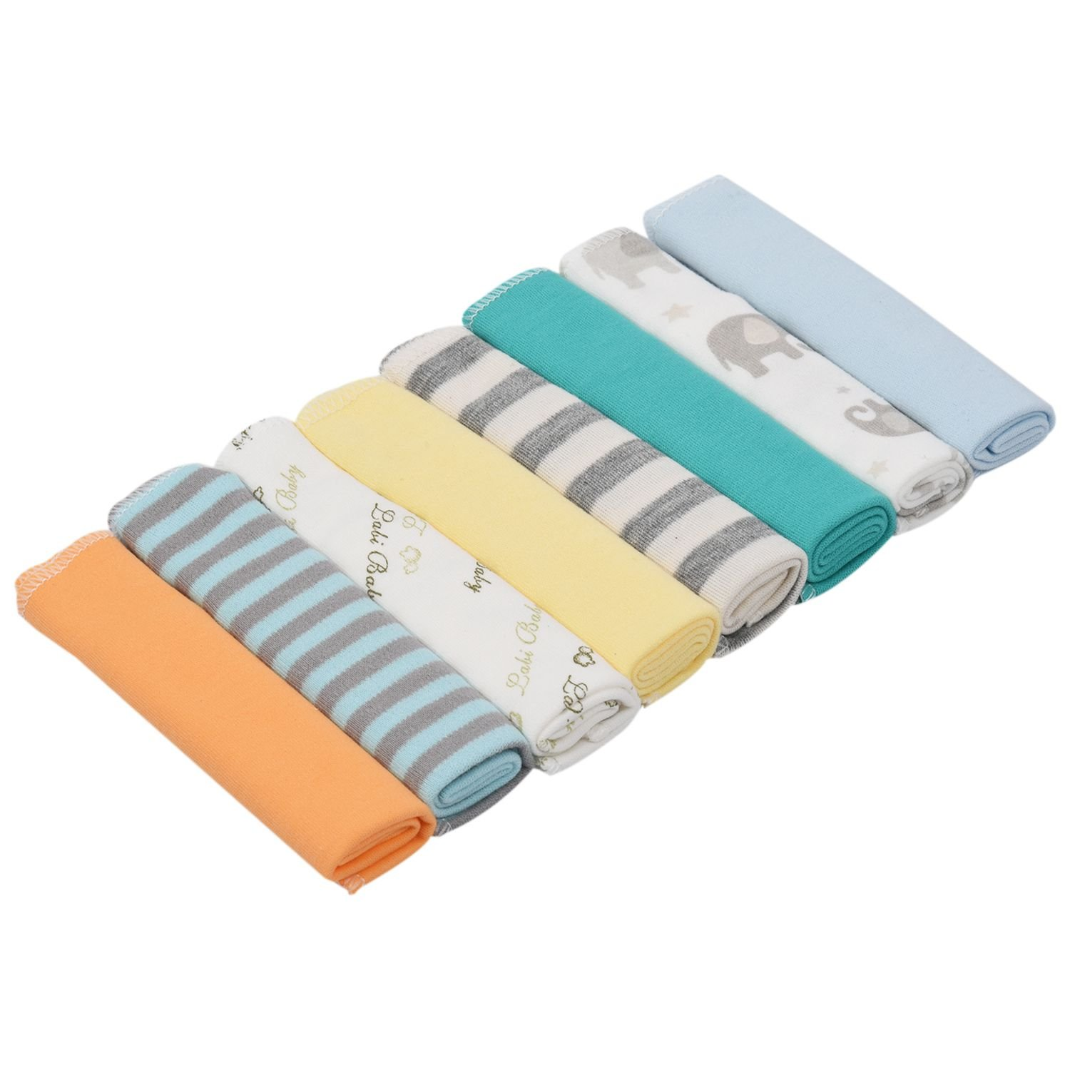 SODIAL(R) 8pcs/pack 100% Cotton Newborn Baby Towels Saliva Towel Nursing Towel Baby Boys Girls Towel Washcloth Handkerchief KF011 (mixed)21x21cm #1