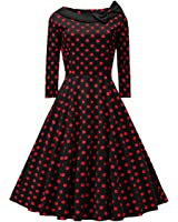 VOGTAGE 1950's 3/4 Sleeve Wave Point Retro Vintage Dress with Defined Waist Design