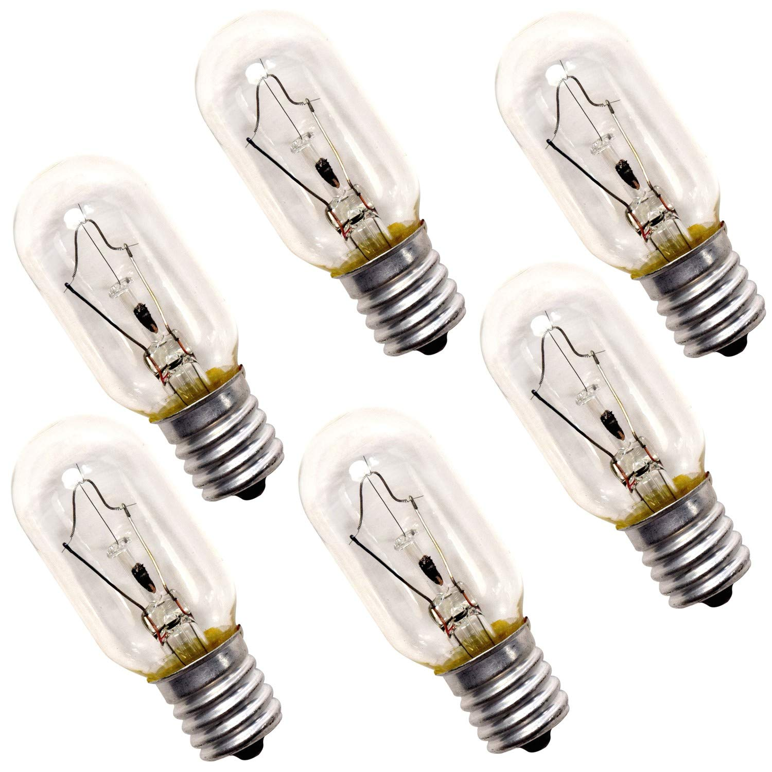 HQRP 6-Pack 40-Watt T8 40T8 Indicator Intermediate (E17) Base Tubular Incandescent Light Bulbs compatible with Appliance Microwave Oven Refrigerator Kitchen Vent Hood Range Hood Lights plus Coaster