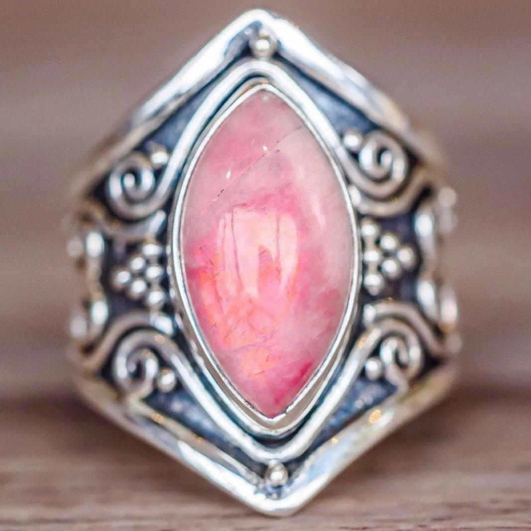 Amazon.com: Besooly Boho Jewelry Silver Natural Gemstone Marquise ...