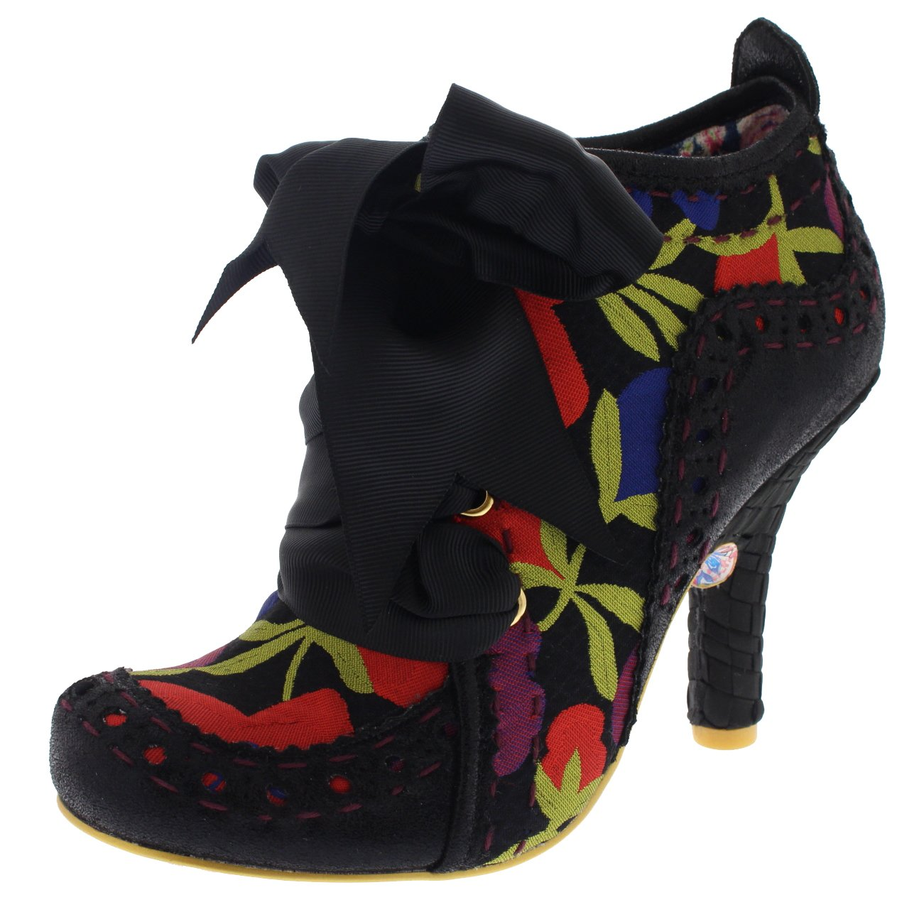 Womens Irregular Choice Abigails Third Party High Heels Ankle Boots - Black Multi Floral - 9.5