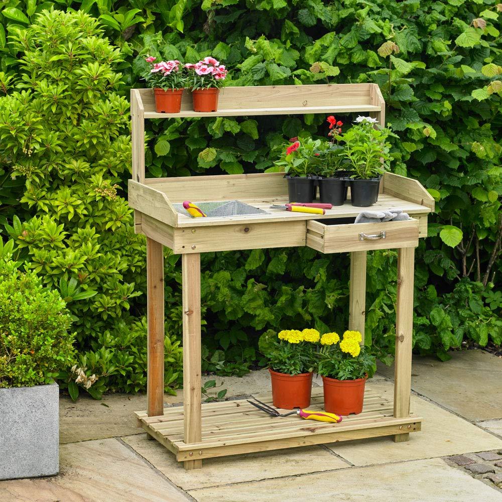 Kingfisher PTABLE Potting Table - Natural Wood