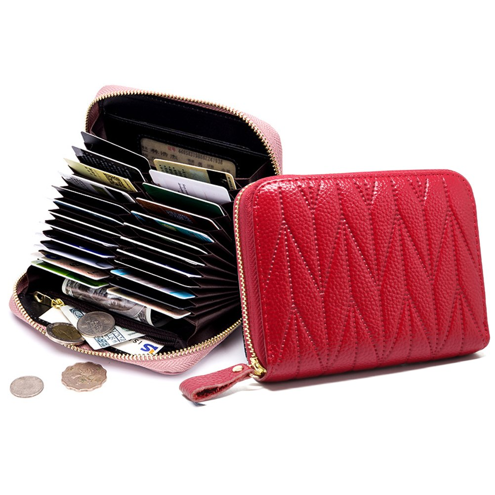 imeetu Women/men RFID Blocking Leather Credit Card Holder case Accordion Wallet 24 Slots Purses with Zipper Pocket(Wine Red) by imeetu (Image #3)