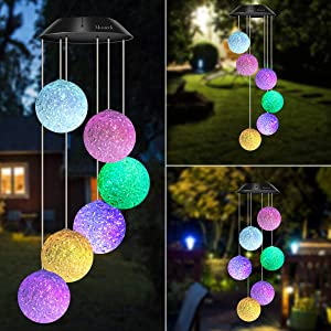 BINWO Wind Chimes Outdoor Solar Crystal Ball Wind Chimes Color Changing LED Mobile Wind Chime, Birthday Gifts for Mom/Grandma, Home Party Night Outdoor, Gardening Gift Outside Decor Solar Lights Chime
